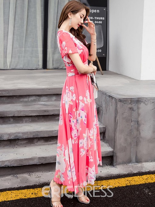 Ericdress V-Neck Floral Print Women's Maxi Dress