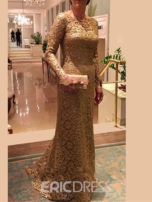 Ericdress Long Sleeve Sheath Lace Mother Of The Bride Dress 2019
