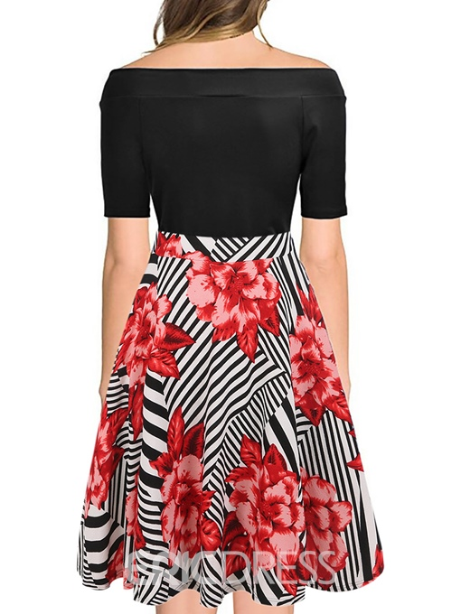 Ericdress Plus Size Short Sleeve Off Shoulder Print Color Block Mid Waist Dress