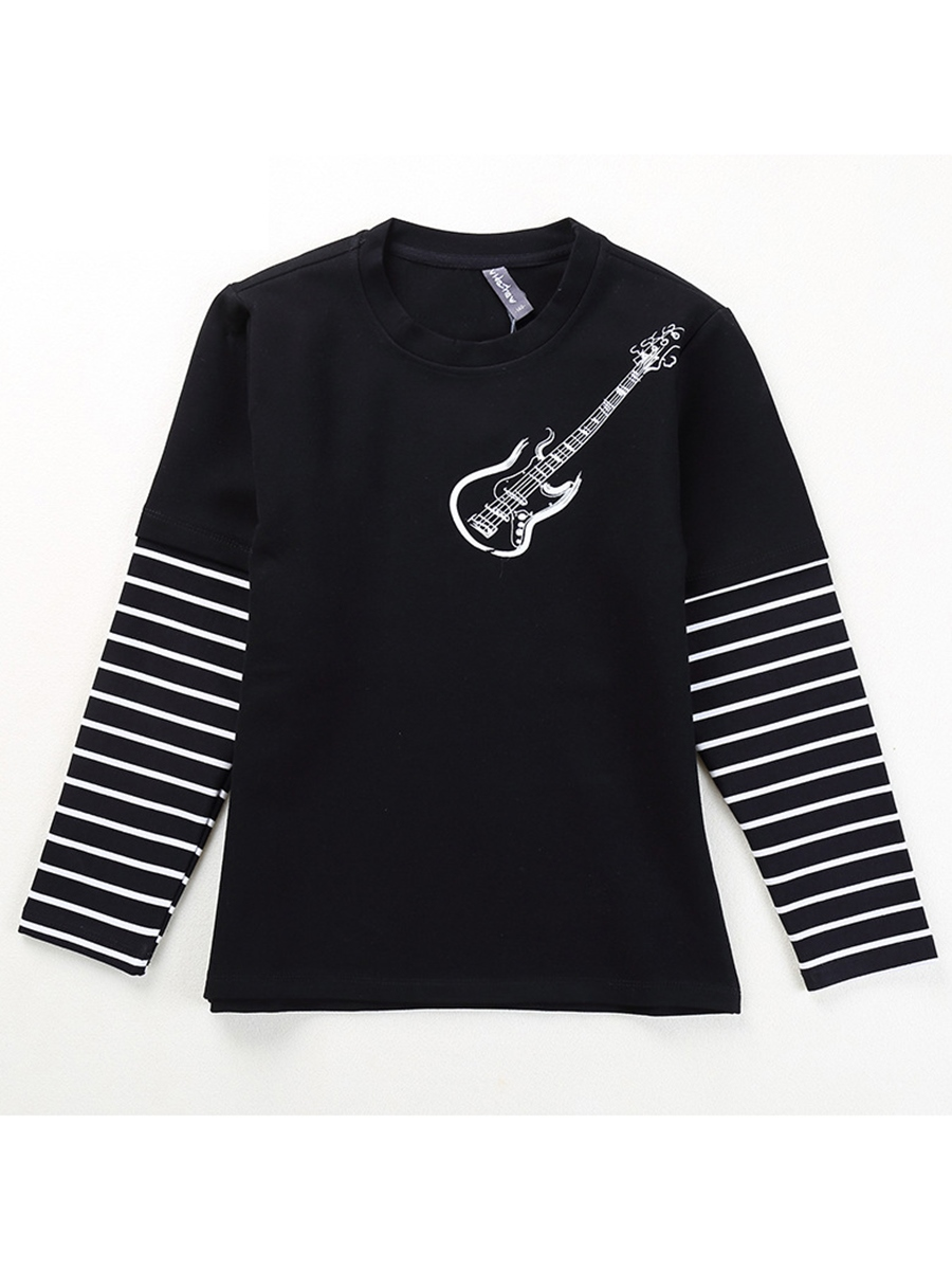 Ericdress Violin Print Stripe Sleeve Boys' T-shirt