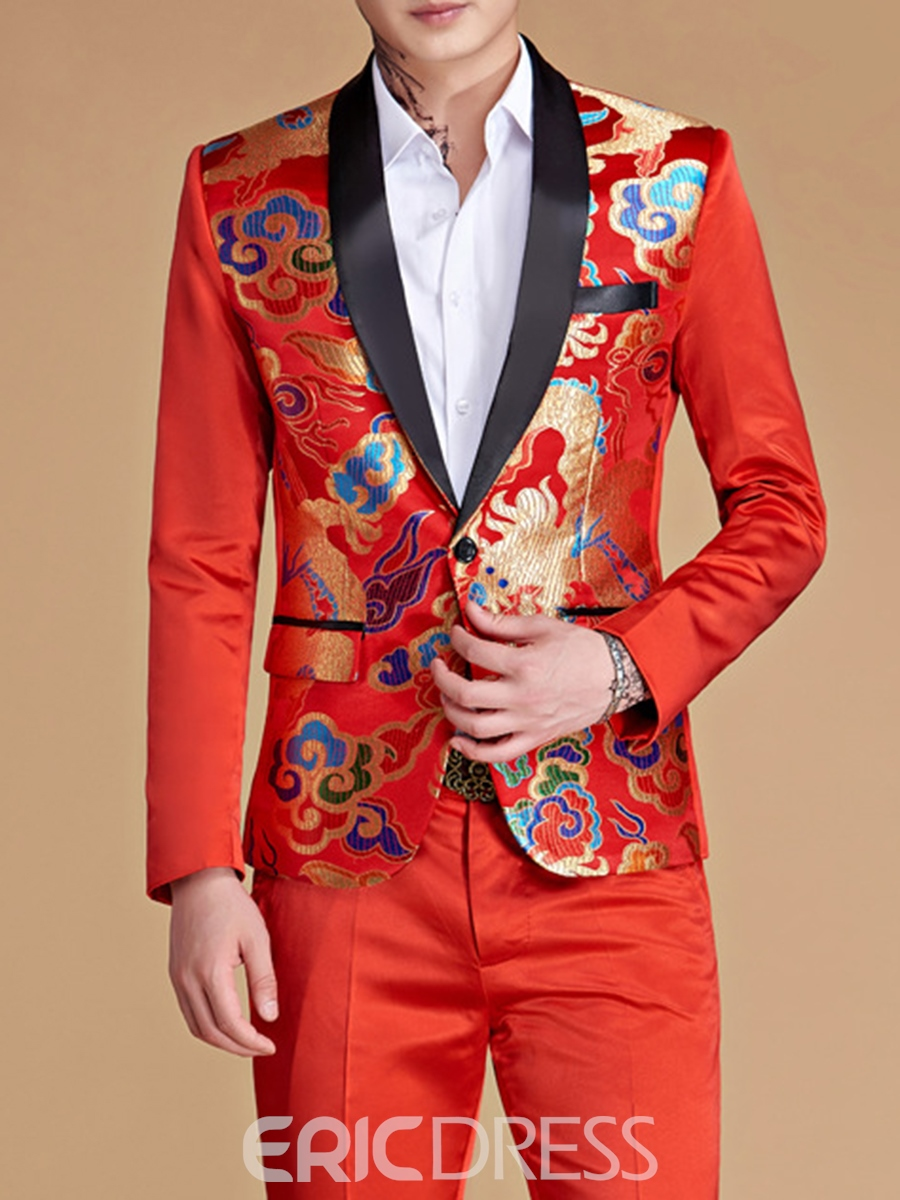 Ericdress Men's Print Casual Suit Blazer Pants