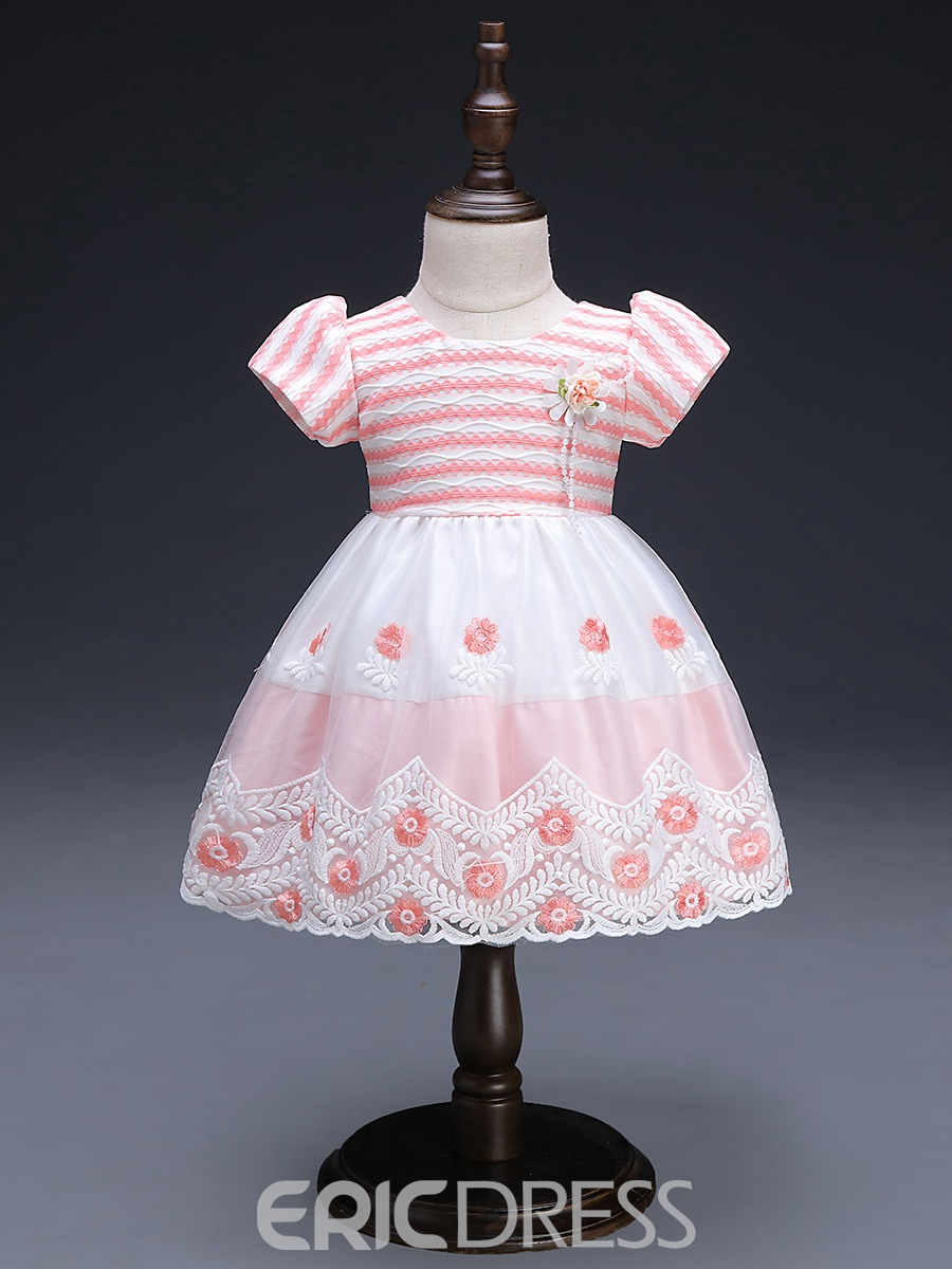 Ericdress Stripe Floral Embroidery Baby Girls' Dress