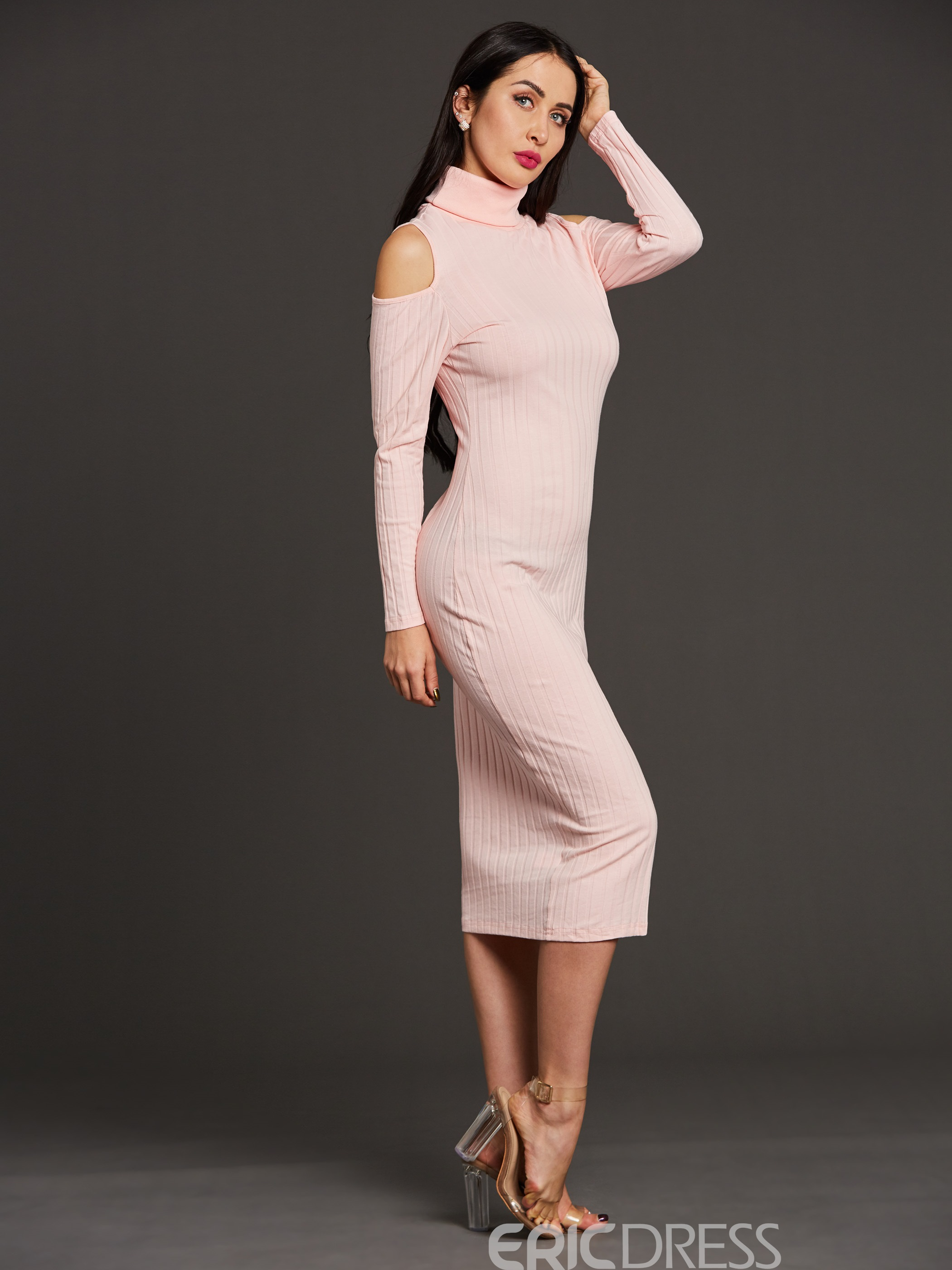 Ericdress High Neck Cold-Shoulder Mid-Calf Bodycon Dress