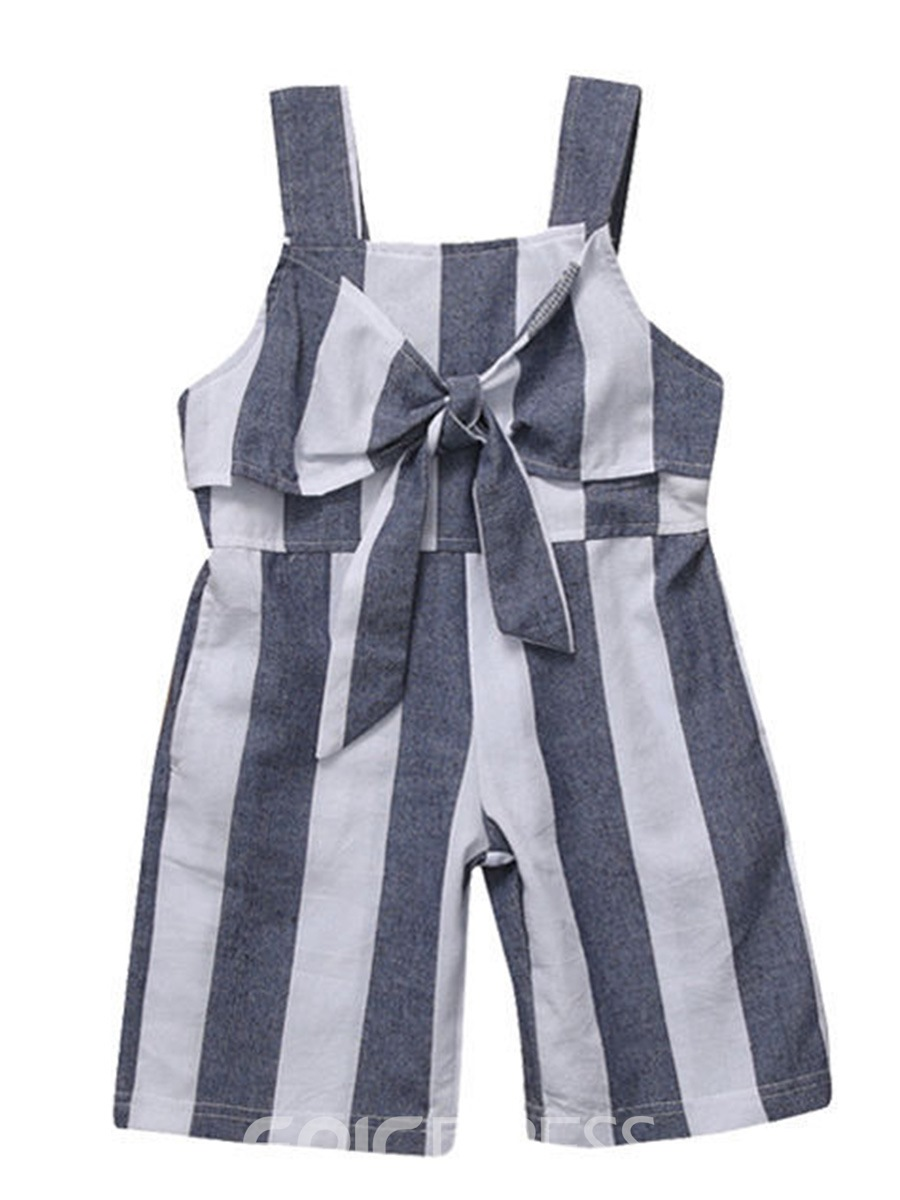 Ericdress Spaghetti Strap Stripe Girls' Jumpsuit