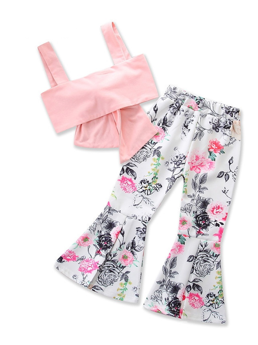 Ericdress Tank Top with Floral Print Pants Girls' Outfit