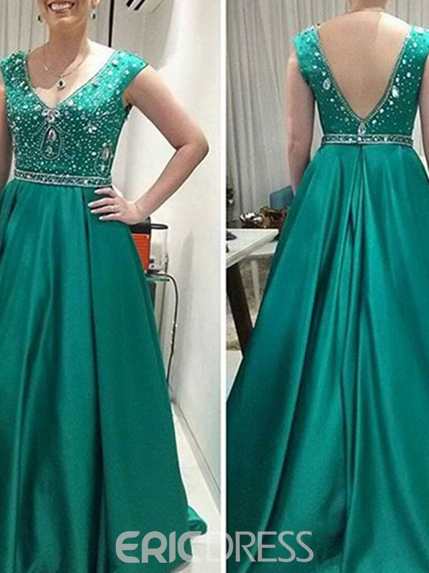 Ericdress V-Neck Cap Sleeves Beading Long Evening Dress