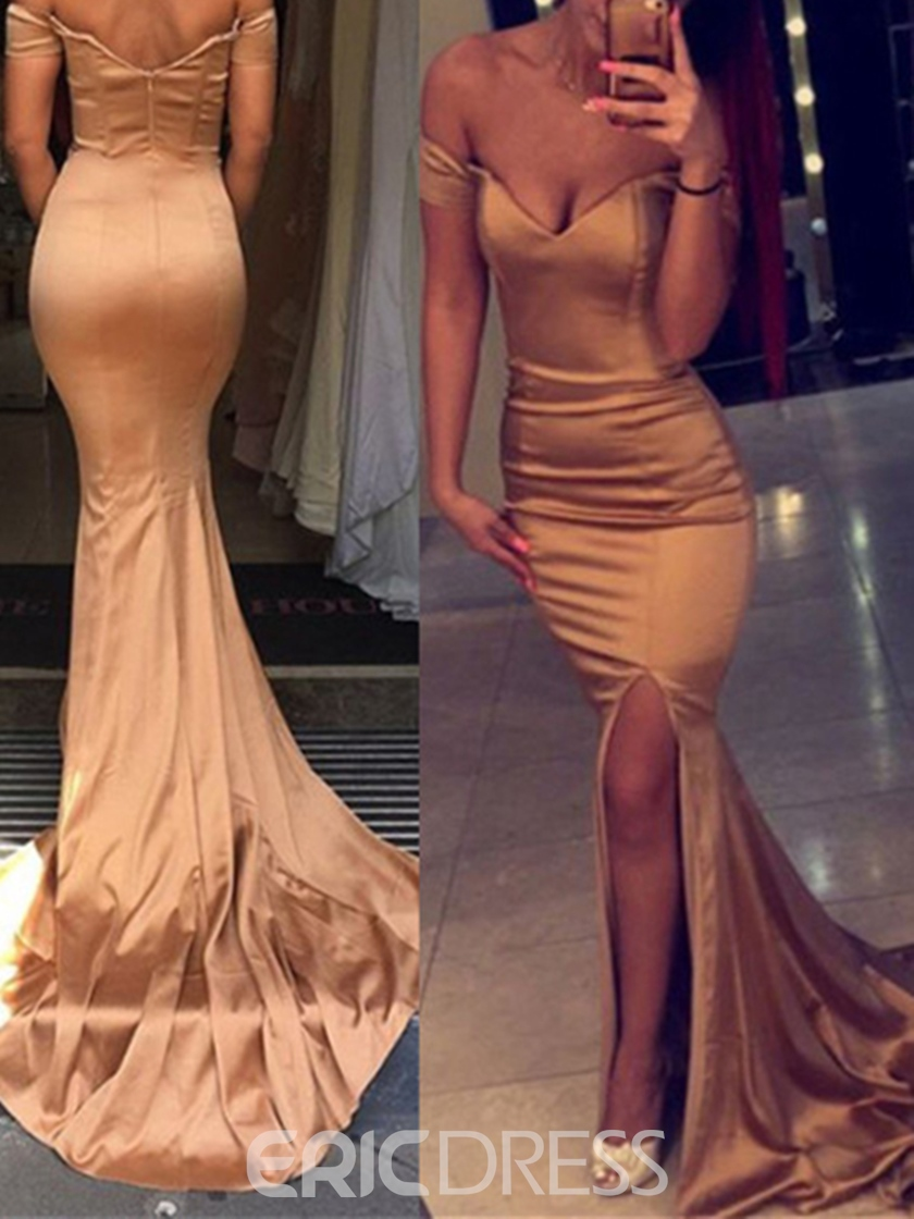 Ericdress Off-the-Shoulder Side Slit Mermaid Evening Dress With Court Train