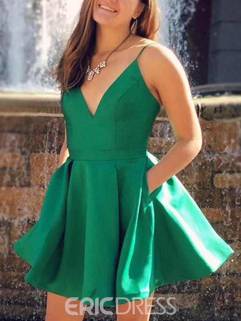 Ericdress Spaghetti Straps Pockets Short Homecoming Dress