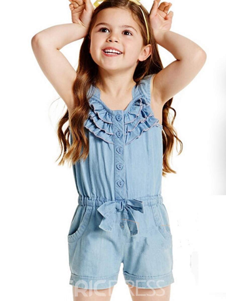 Ericdress Denim Falbala Patchwork Shorts Girls' Jumpsuit