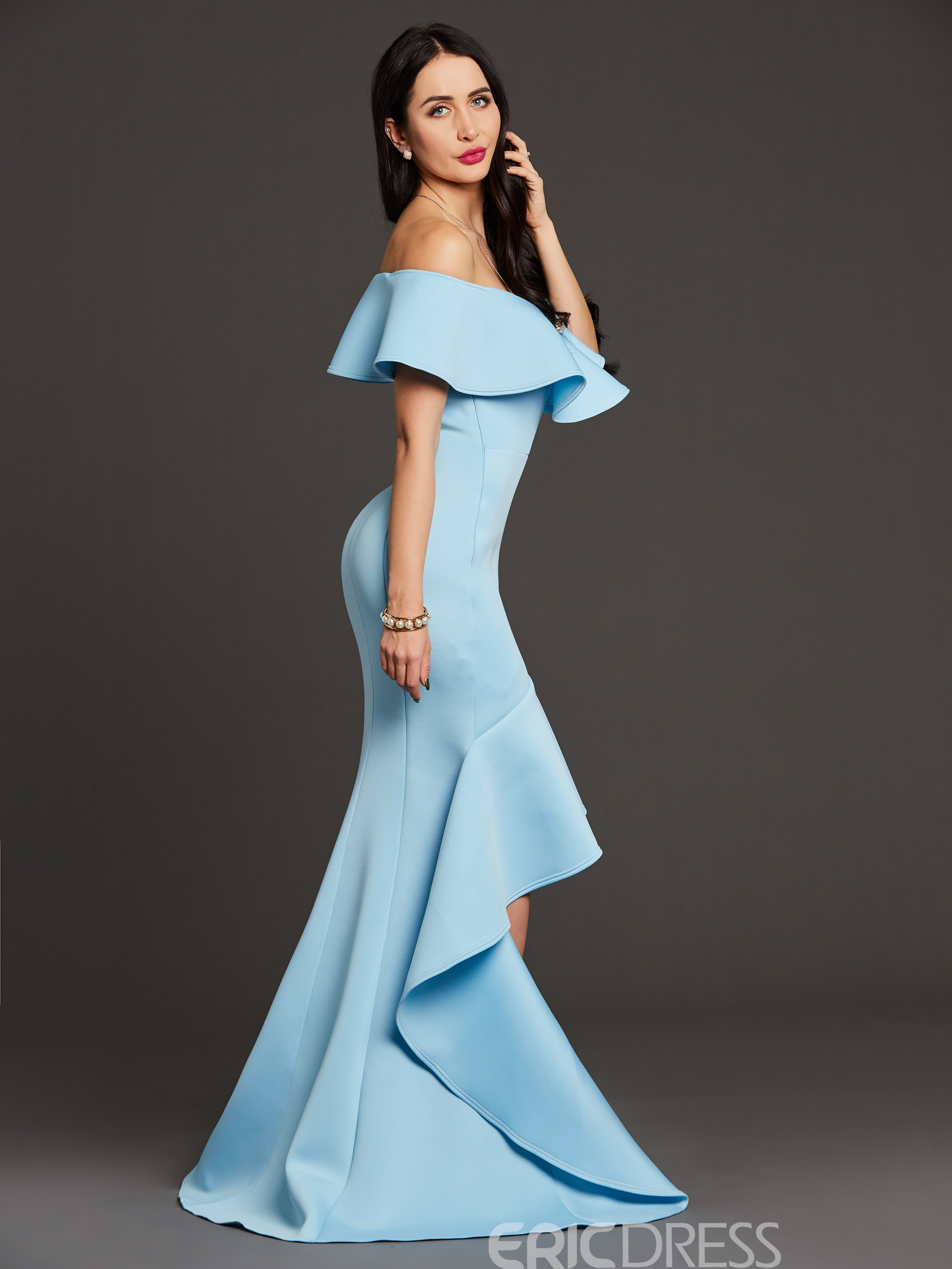 Ericdress Slash Neck Plain Ruffle Asymmetrical Maxi Dress