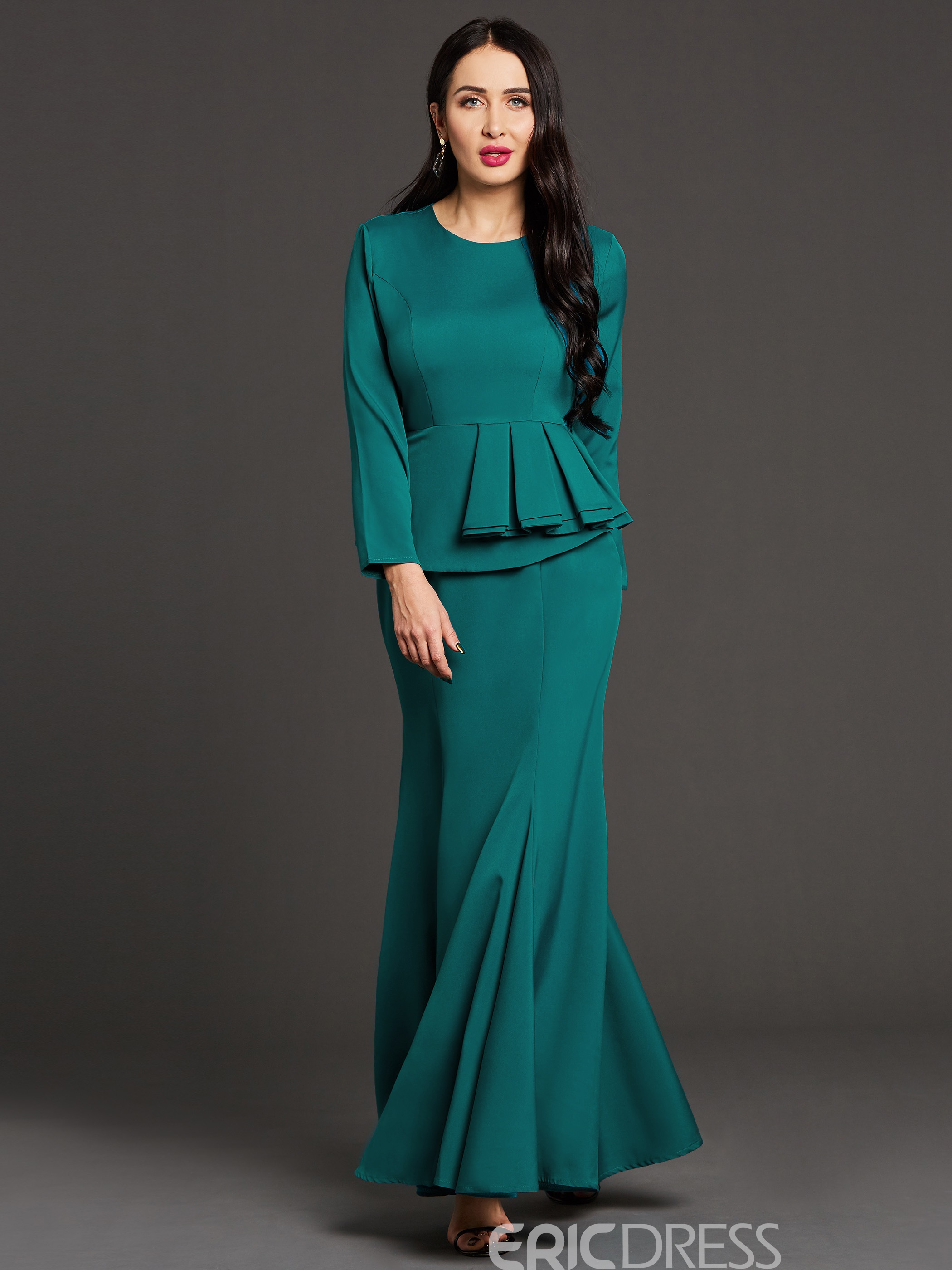 Ericdress Mermaid Ruffled Floor-Length Maxi Dress