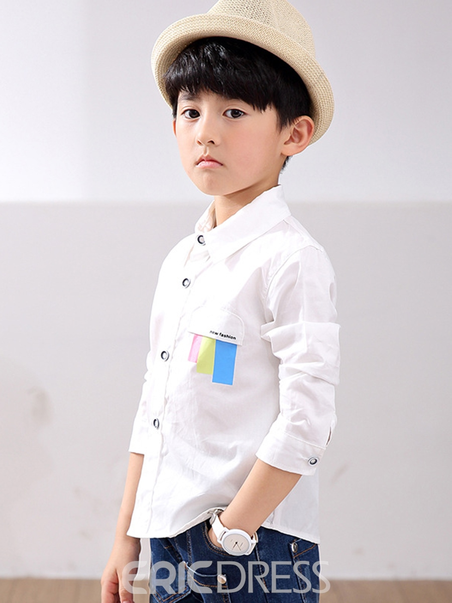 Ericdress Lapel Print Single-breasted Boys' Shirt