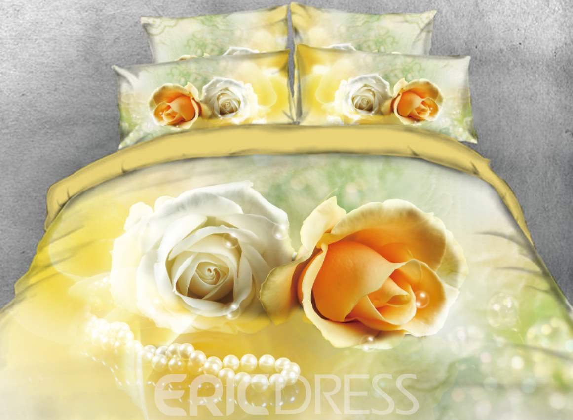Vivilinen 3D Yellow Roses and Pearl Necklace Printed 4-Piece Bedding Sets/Duvet Cover