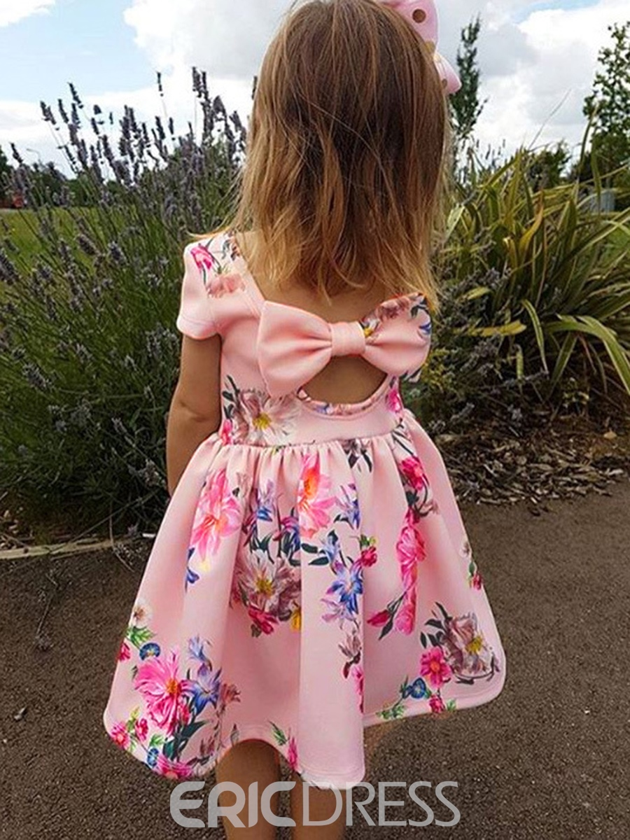 Ericdress Floral Backless Bowknot Girls' Dress