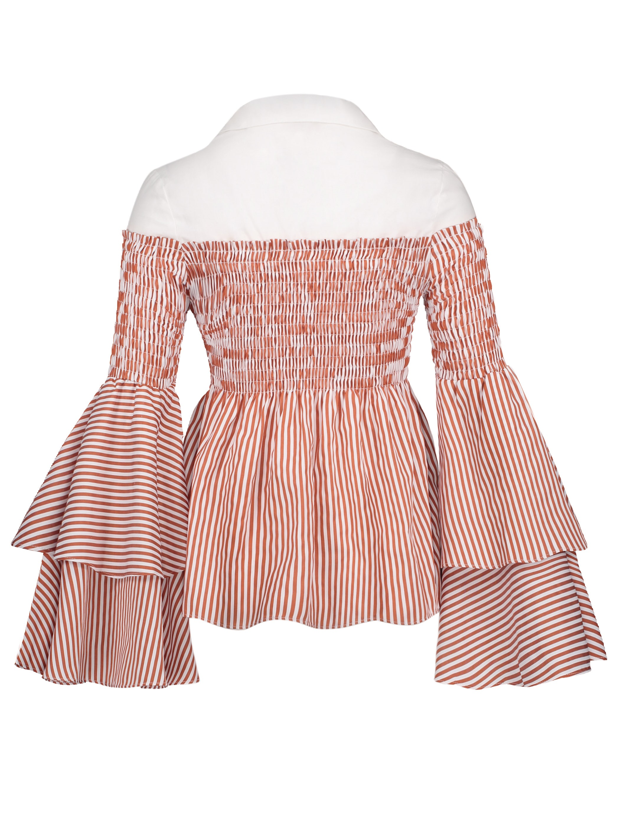 Ericdress Pleated Patchwork Flare Sleeve Womens Top