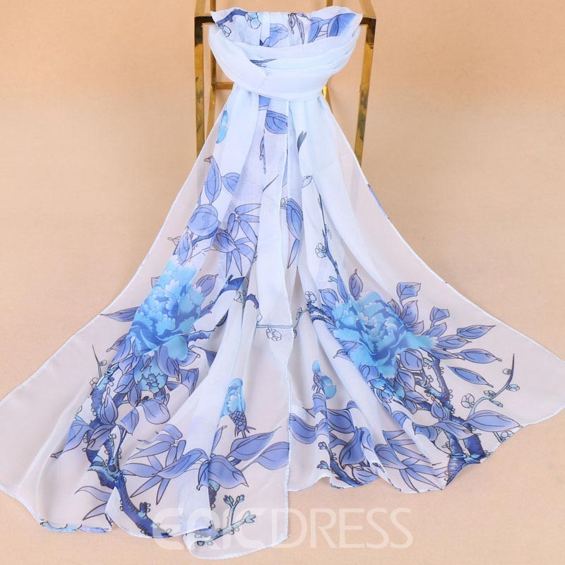 Ericdress Flower Printed Chiffon Scarf for Women