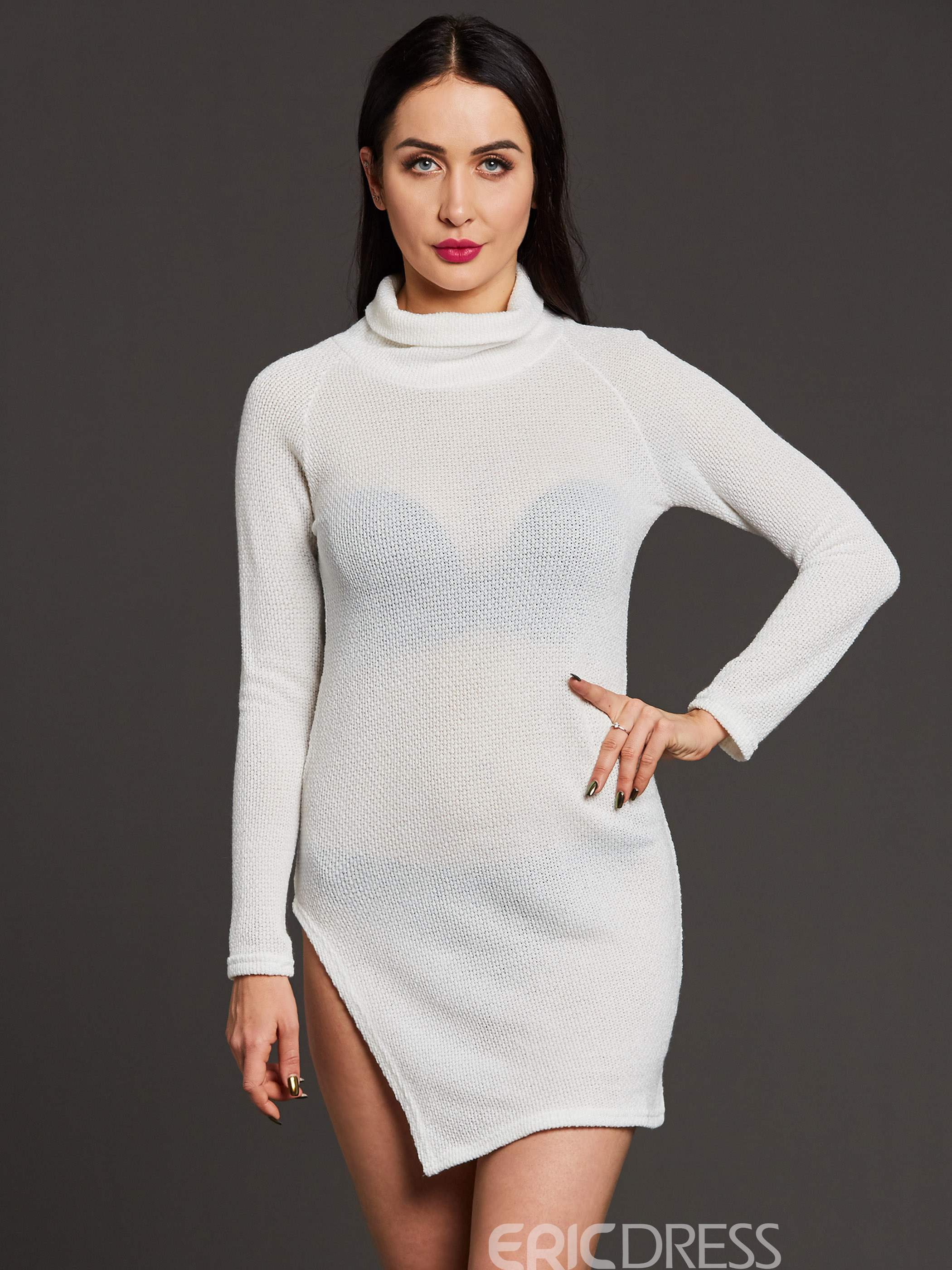 03434de128 Ericdress Plain High Neck Thread Long Sleeve Sweater Dress 12994985 ...