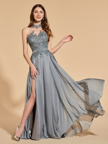 Ericdress A Line Halter Split Front Backless Prom Dress