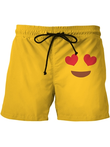 Ericdress Plain Heart Smile Face Men's Swim Shorts Beach Board Trunks