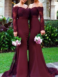 Ericdress Long Sleeves Mermaid Off The Shoulder Appliques Bridesmaid Dress