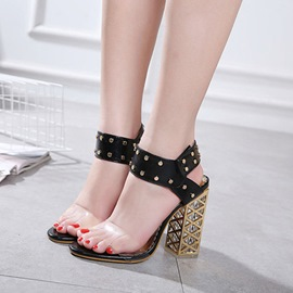 Ericdress Rivet Ankle Strap Plain Chunky Sandals