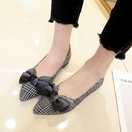 Ericdress Plaid Pointed Toe Women's Flats with Bowknot