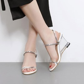 Ericdress Strappy Open Toe Slip-On Wedge Sandals