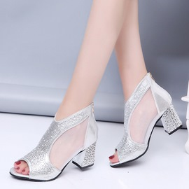 ericdress clair strass patchwork plaine chunky chaussures à talons