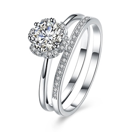 Ericdress Flower Diamante S925 Sterling Silver Ring for Wedding