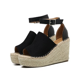 Ericdress Buckle Peep Toe Platform Espadrille Wedge Sandals