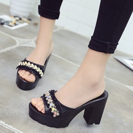 Ericdress Beads Decorated Platform Slip-On Chunky Heel Mules Shoes