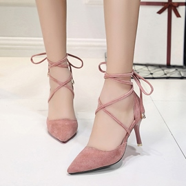 Ericdress All Match Pointed Toe Lace-Up Stiletto Heel Pumps
