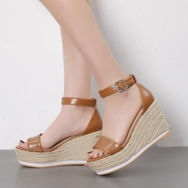 Ericdress Platform Open Toe Wedge Heel Espadrille Sandals