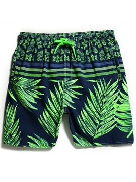Eicdress Coconut Tree Plant Print Men's Swimwear Trunks Beach Board Shorts