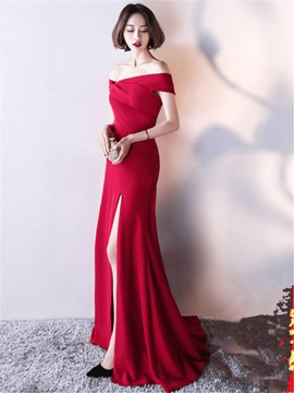 Ericdress Short Sleeve Off The Shoulder Mermaid Evening Dress With Slit