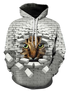 Ericdress Men's Loose 3D Cat Print Hoodies