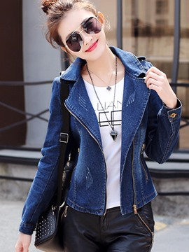Ericdress Slim Worn Zipper Denim Jacket