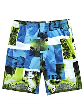 Ericdress Coconut Tree Floral Print Men's Swim Trunks Beach Board Shorts