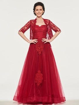 Ericdress A Line Applique Lace Mother Of The Bride With Half Sleeve Cape