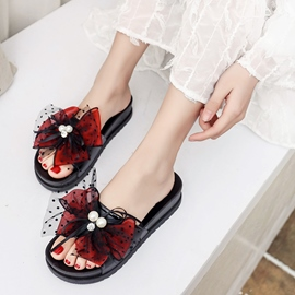 Ericdress Bowknot&Beads Patchwork Plain Mules Shoes