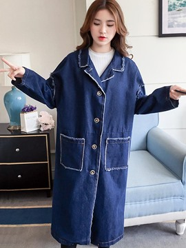 Ericdress Lapel Single-Breasted Long Denim Trench Coat