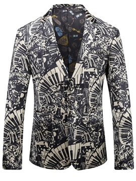 Ericdress Color Block Men's Print Jacket Blazer