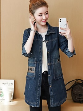Ericdress Slim Lapel Mid-Length Denim Trench Coat