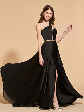 Ericdress A Line One Shoulder Side Slit Black Prom Dress