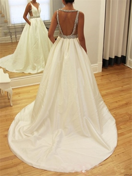 Ericdress Beading Backless Wedding Dress with Pockets