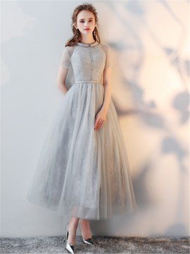 Ericdress High Neck Short Sleeves Tea Length Lace Evening Dress