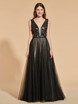 Ericdress V Neck Beading Applique Black Prom Dress