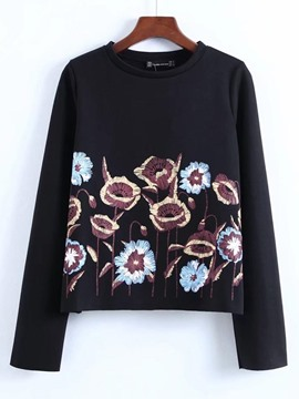Ericdress Floral Embroidery Scoop Cool Hoodie