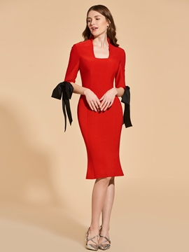 Ericdress Square Neck 3/4 Sleeve Sheath Mermaid Cocktail Dress