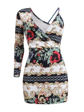 Ericdress V-Neck Print One Shoulder Women's Bodycon Dress